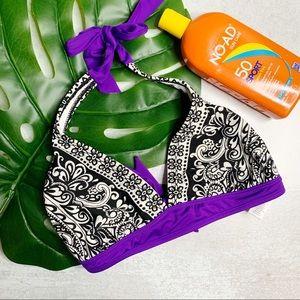 Athleta black paisley purple halter bikini S0561